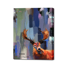 Framed deer head oil painting abstract