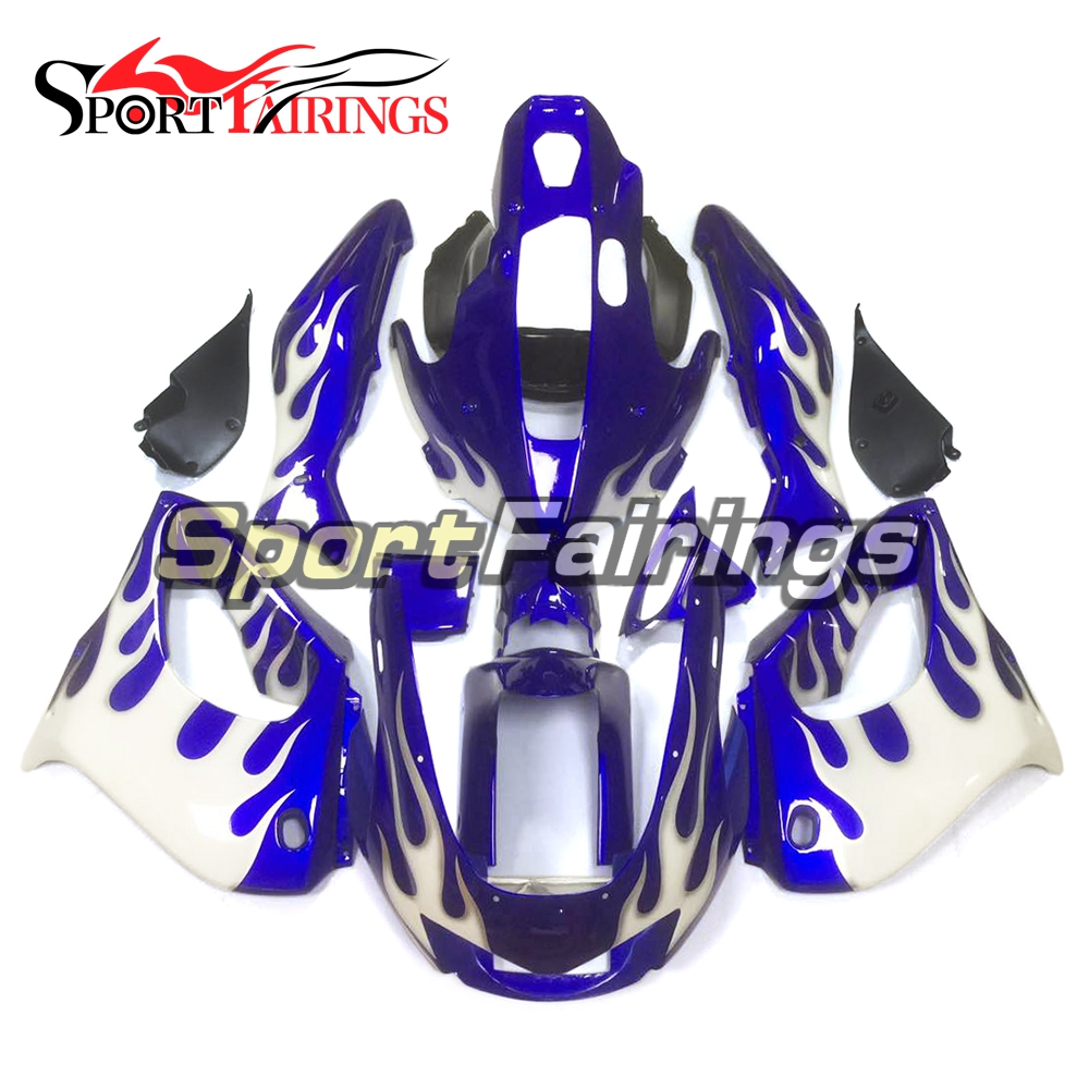 Complete Fairings For Yamaha YZF1000R Thunderace Year 1997 - 2007 ABS Plastic Motorcycle Fairing Kit White Blue Flames Body Kit