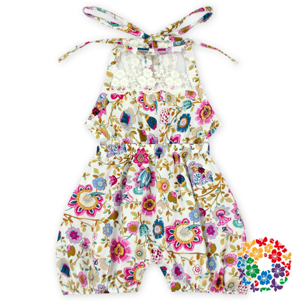 2016 New Style Baby Dress Modern Girls Cotton Dresses With Lace Floral Print Dresses Fit 0-6 Years Old