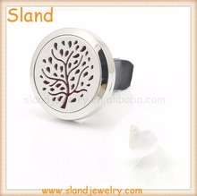Wholesale OEM design polished 316L Stainless Steel Aromatherapy Essential Oil Locket Diffuser Car Air Freshener for best Gift