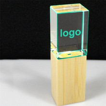 Engraved Logo Inside Bulk Pen Drive Led Light Crystal USB Flash Drive