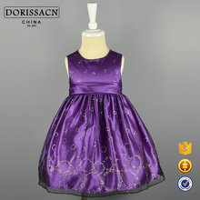 2016 Brand New High Quality OEM/ODM Satin Fabirc Long Length Sash Sequins Frock Design For Baby Girl Kids Party Dresses