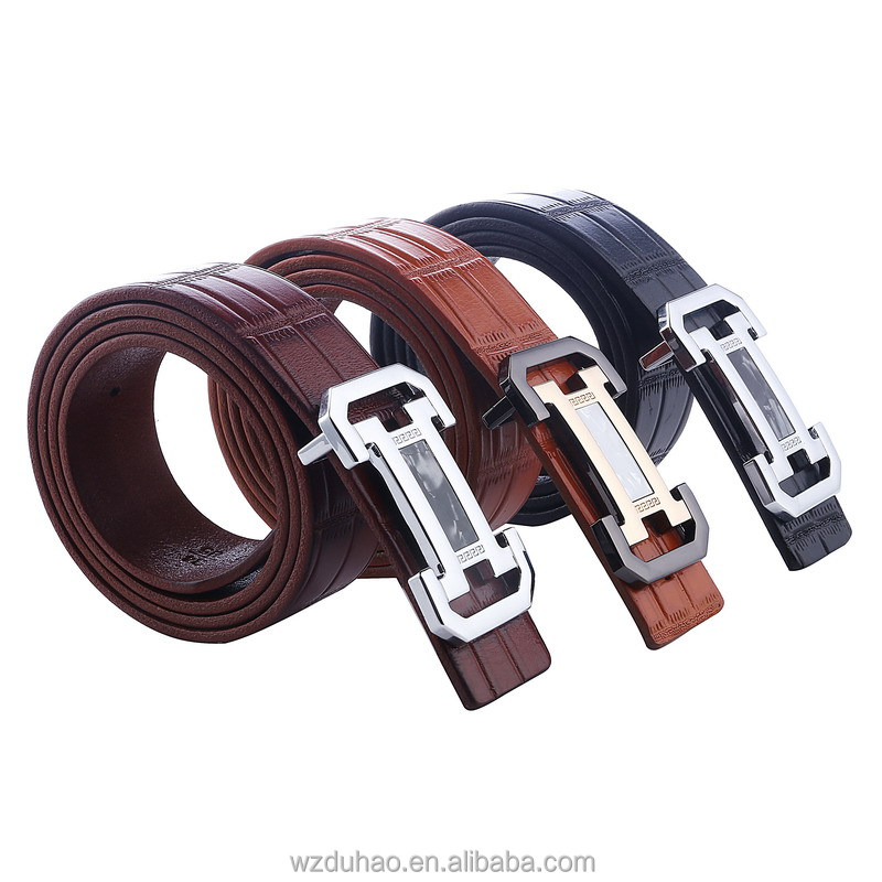 Men's wide cowhide leather flat belt with plate buckle