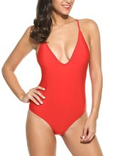 Women Sexy Backless One Piece Red Swimsuit Supplier