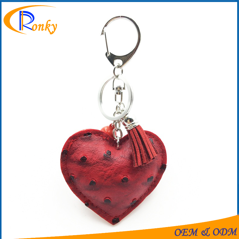 High quality heart charms bulk leather keychains for women