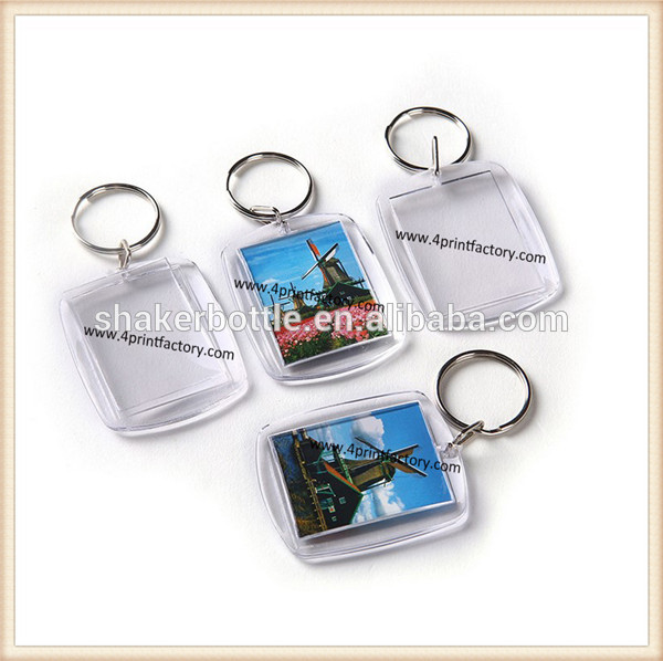 Custom Blank Transparent Can Insert Pictures Acrylic Key Chain/Keyring For Advertising