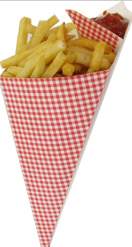 TOP grade Oil and Water Resistant Paper Cone cups fries cone holder