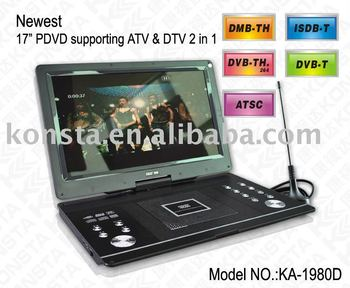 "15.6"" Super big panel Portable DVD Players with DVB-T or ISDB"