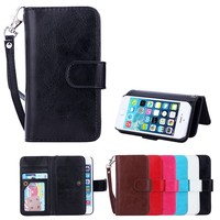 Pu leather case for iphone 5/SE/6 6s/ 6 plus with card slot detachable case cover