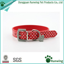 Dog Collar Wiht Polka Dot Leather Rhinestones on Buckle Heart Charm Pet