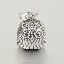 Owl Dangle Charm Fit Snake Bracelet With Charms 925 Sterling Silver S265
