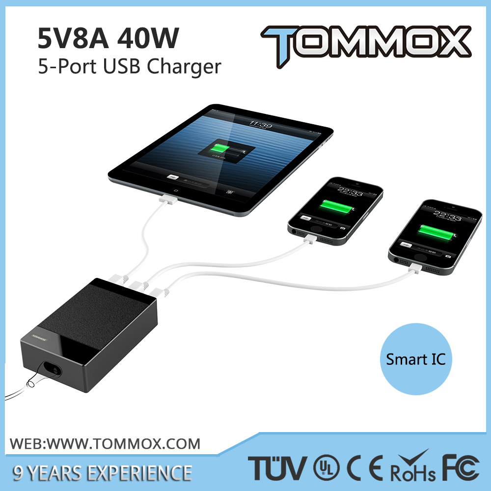 5-port usb mobile phone charger for samsung galaxy II