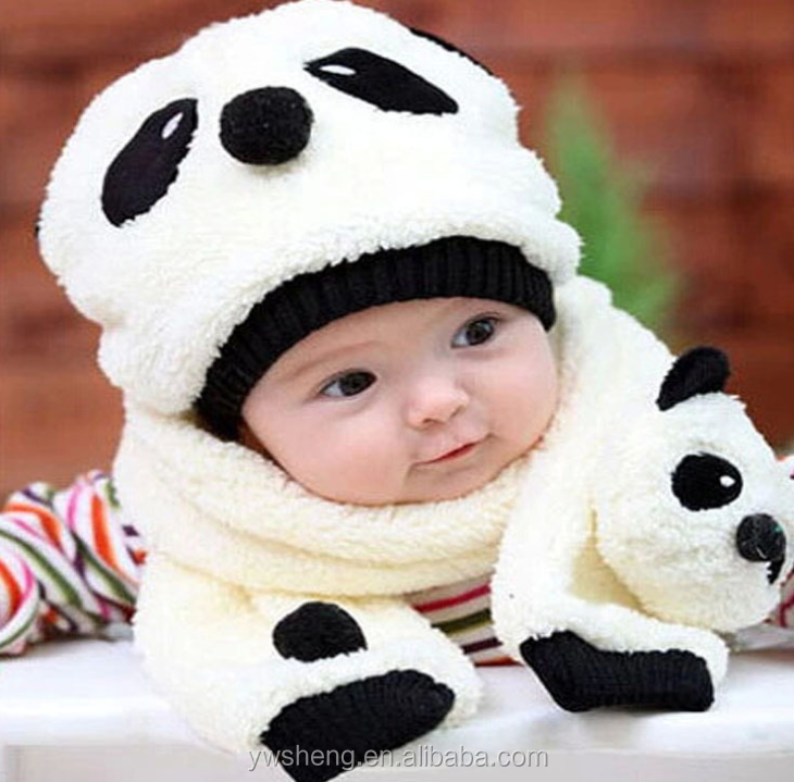 Wholesale baby cute winter panda hat with scarf set