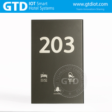 Latest Gray Tempered Glass Customized Hotel Room Number Electronic Doorplate with DND MUR and Doorbell Function