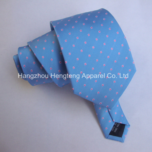 Dotted Blue Color 100% Silk Woven Tie Logo Necktie