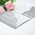 Light silver luxurious pocket laser cut wedding invitations card envelopes