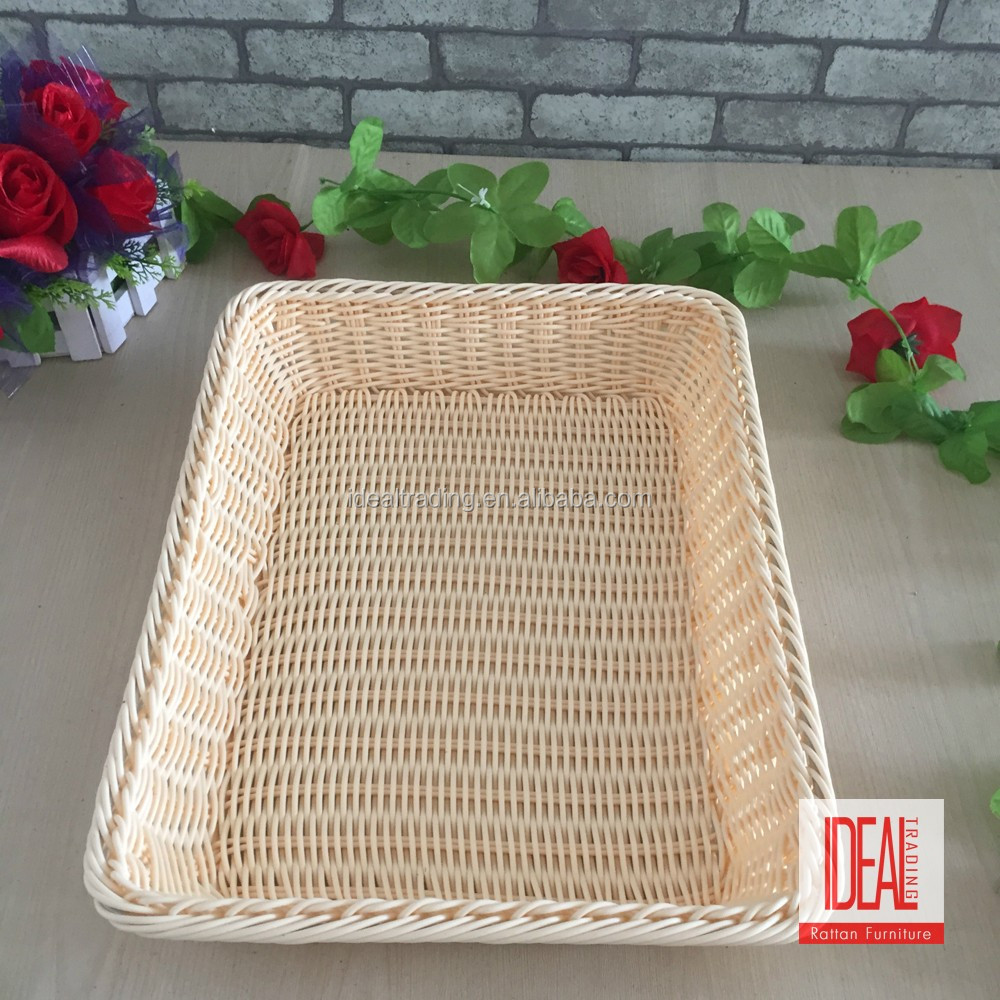High quality retail rectangular China wicker rattan basket display tray