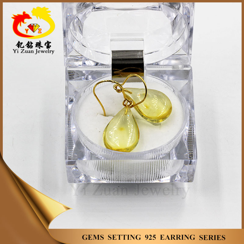 Top quality Natural yellow amber new design hanging earrings