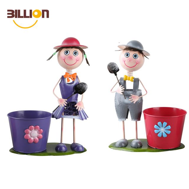 Iron Metal Garden Wholesale Planter, Iron Boy Girl Figures Garden Flower Pot