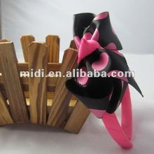 Promotion polyester hairbands with bows for girl