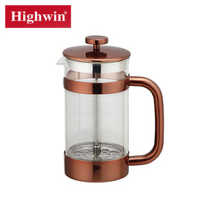 high quality low MOQ borosilicate glass French press stainless steel coffee press set