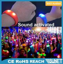 2016 SUNJET Event supplies luminous sound activated 2 led lighted wrist band