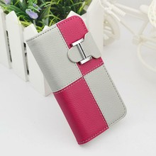 Double color wallet leather case for iphone 5 magnets snap-on flip phone case wholesale price case