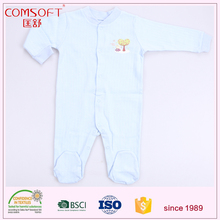 cotton fabric baby kids solid color front snap footed sleeper pajama