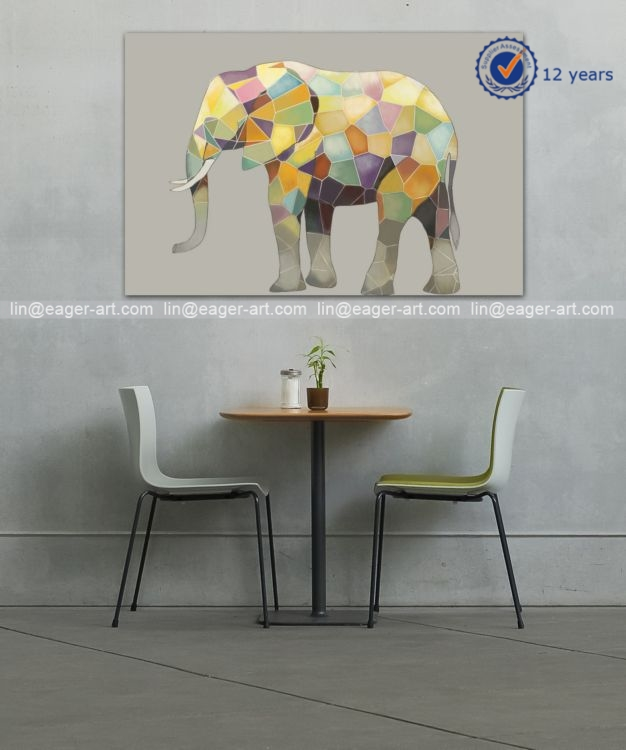 High Quality Home Decoration Handmade Canvas Wall Art Elephant Animal Oil Paintings