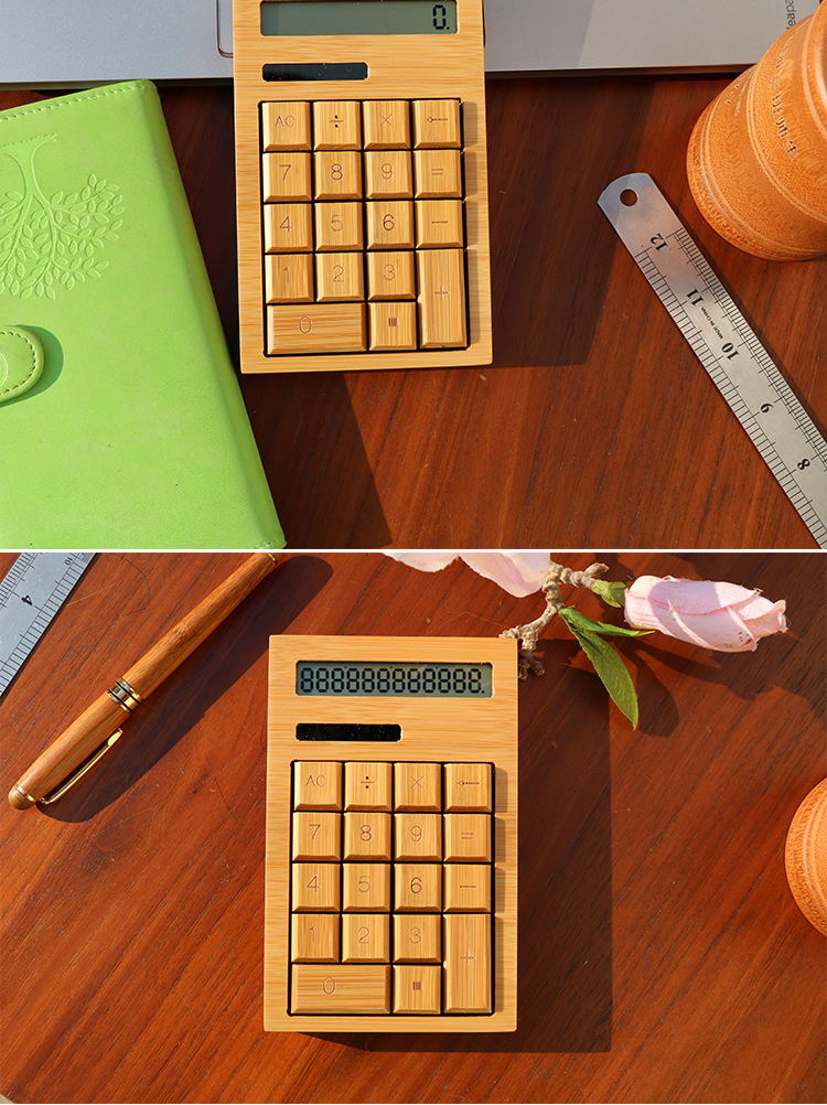 Best Eco-friendly custom wholesale mini bamboo scientific solar calculator