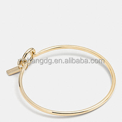 Stainless Steel Charm Base Hinged Hoop Bangle Rose Gold Bracelets