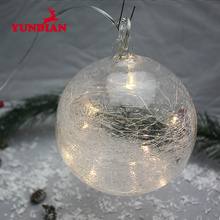 Wholesale hanging light up crackle large glass led christmas ball for christmas tree decoration