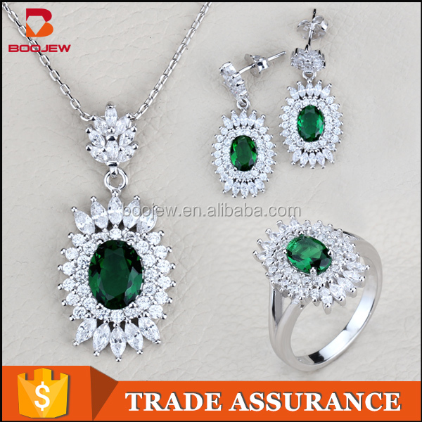 Beauty design jewellery for lady silver plated green stone jewelry settings and mountings