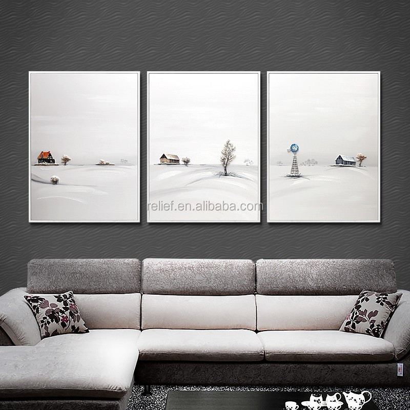 relife 100% handmade snow scenery art oil painting for wall deco/gift