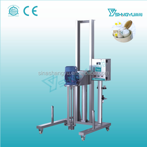 Factory make penumatic 3000/rpm lift high shear moveable In-line viscous liquid cosmetics homogenizer