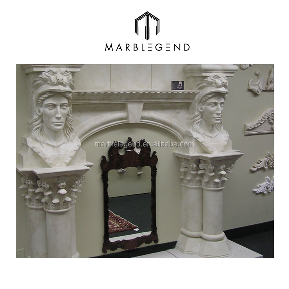 Outside barbeque use hand carved indoor freestanding fireplace mantel