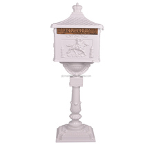 Low Price Free Standing White Ornate Waterproof Aluminum Mailbox Post Box