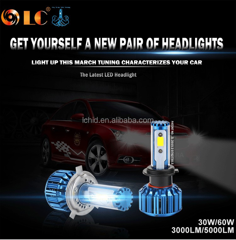2017 New Arrival 60W 5000LM car led headlight with best Price and best quality H4 H13 9004 9007