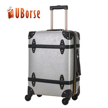 PU or PVC hand made trolley luggage with 4 universal wheels
