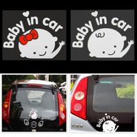 3D Cartoon Car Stickers Reflective Vinyl Styling Baby In Car Warming Car Sticker Baby on Board On Rear Windshield