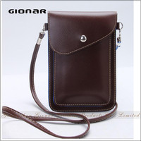 Hot Sell Good Quality PU Leather Smartphone Bag Neck Cellphone Case with Lanyard