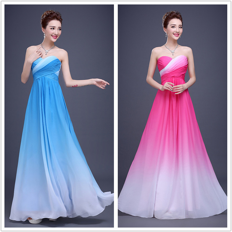 2016 Latest Elegant High Quality Chiffon Strapless Evening Party Dress