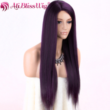 Machine Made Coarse Yaki Straight Purple None Wig 100% Modacrylic Fiber Lace Full Synthetic Wigs For Black Women