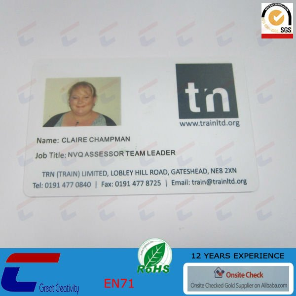 plastic employ id card