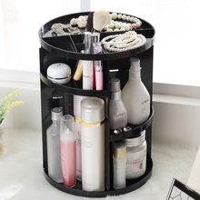 360 Degrees Rotate Functional Cosmetics Container Makeup Organizer Eco-friendly Storage Box, Size: 23 x 31cm(Black)