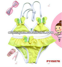<OEM Service> Hot & Comfortable Yellow Baby Girls Brazilian Swimwear with Light Green Bowknot