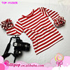 Wholesale long sleeves baby icing ruffle top children t shirt red white stripes Christmas baby icing ruffle shirt