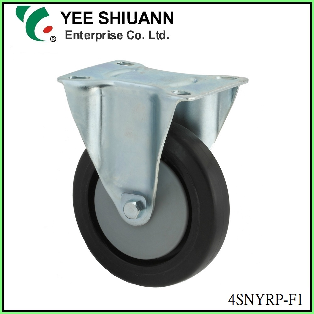 Yee Shiuann stainless steel fixed 4 inch rubber caster wheel