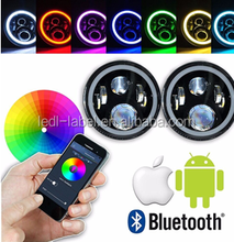RGB Halo 7 inch 60W LED Headlights for J-eep W-rangler Plug and Play with Bluetooth Function