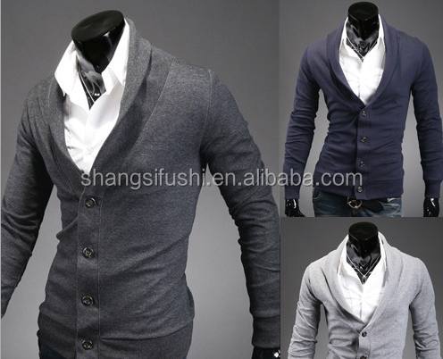 Men ' s tight fitting sweater , long sleeve turtleneck cardigan sweater